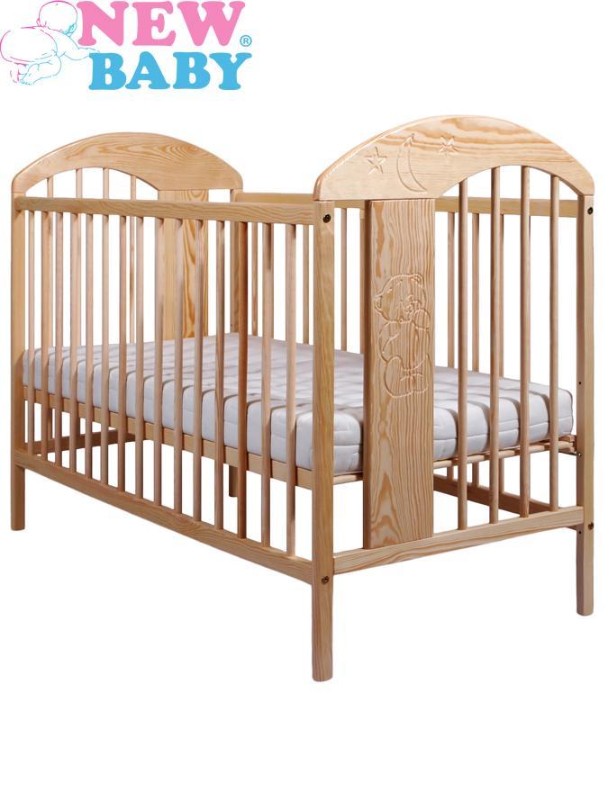 Dřevěná postýlka New Baby ADAM borovice Dětská postýlka klasických rozměrů