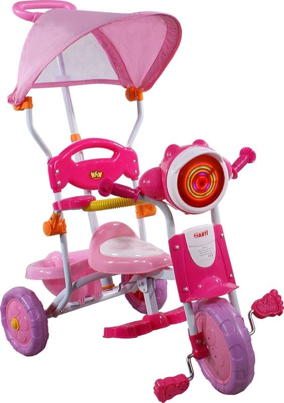 tříkolka ARTI 260C motocykl růžová Dětská tříkolka s vodící tyčí a stříškou