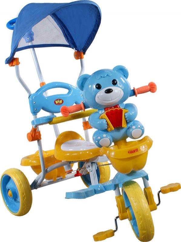 tříkolka ARTI 290C méďa modrá Dětská tříkolka s vodící tyčí a stříškou