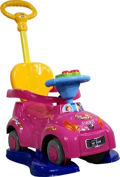 Odrážedlo Music Safety Car pink Odrážedlo s vodící tyčí 3v1