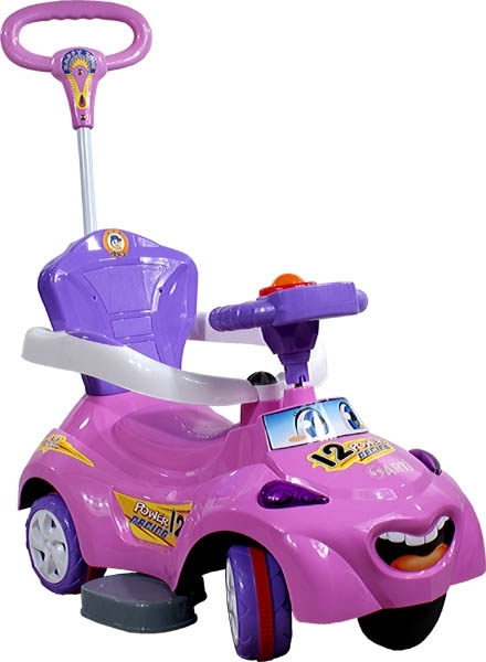 Odrážedlo Music Speed Car pink Odrážedlo s vodící tyčí 2v1