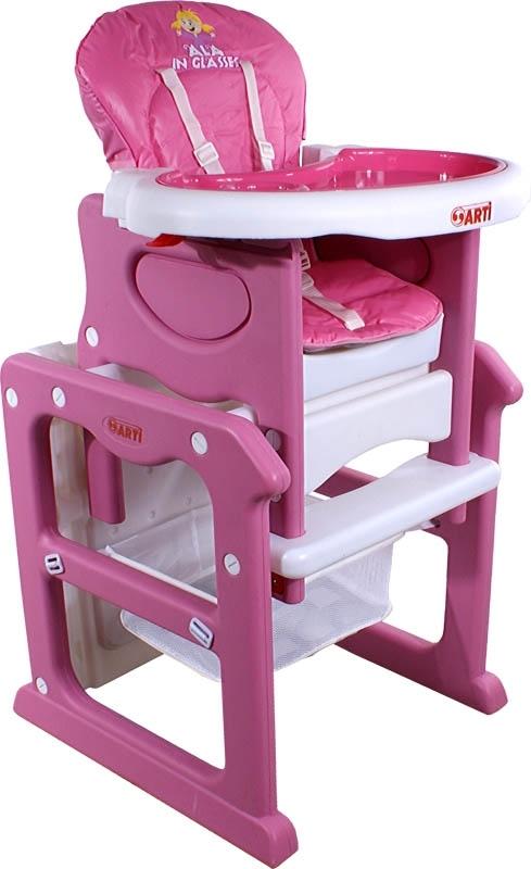 Židlička jídelní PAULI Ala Pink Rozkládací jídelní židlička 2 v 1