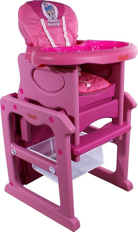 Židlička jídelní PAULI Králíček pink Rozkládací jídelní židlička 2 v 1