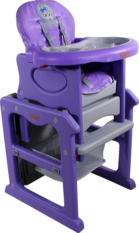 Židlička jídelní PAULI Králíček violet Rozkládací jídelní židlička 2 v 1