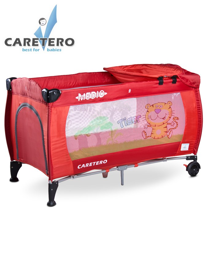Cestovní postýlka Carero Medio Safari červená Dětská postýlka skládací Caretero