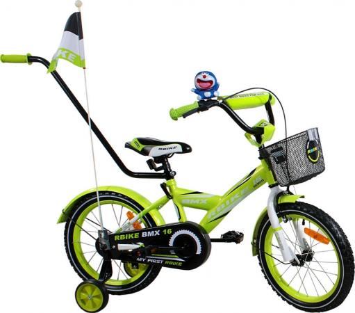 """Dětské kolo 16"""" RBike 1 green Dětské jízdní kolo ARTI s vodící tyčí"""
