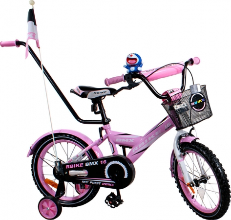 """Dětské kolo 16"""" BMX RBike 1-16 pink Dětské jízdní kolo ARTI s vodící tyčí"""