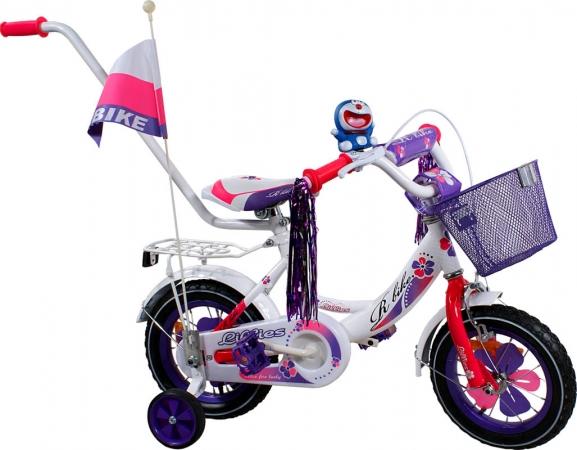 """Dětské kolo 12"""" BMX RBike 2-12 purple Dětské jízdní kolo ARTI s vodící tyčí"""
