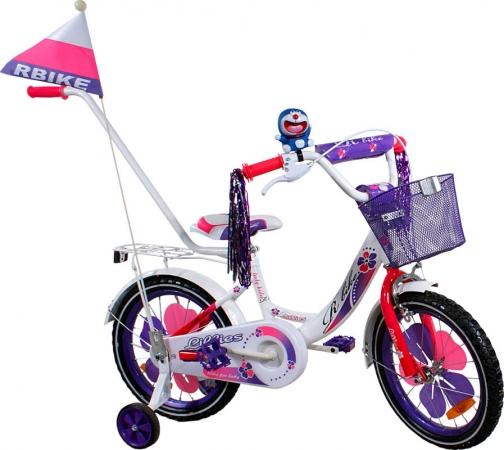 """Dětské kolo 16"""" BMX RBike 2-16 purple Dětské jízdní kolo ARTI s vodící tyčí"""
