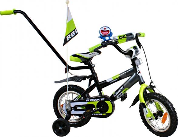 """Dětské kolo 12"""" BMX RBike 3-12 green Dětské jízdní kolo ARTI s vodící tyčí"""