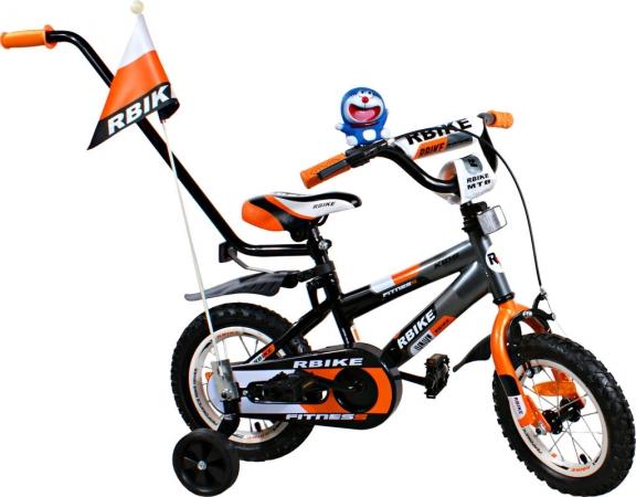 """Dětské kolo 12"""" BMX RBike 3-12 orange Dětské jízdní kolo ARTI s vodící tyčí"""