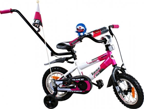 """Dětské kolo 12"""" BMX RBike 3-12 purple Dětské jízdní kolo ARTI s vodící tyčí"""