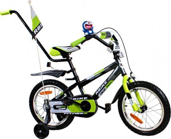 """Dětské kolo 16"""" BMX RBike 3-16 green Dětské jízdní kolo ARTI s vodící tyčí"""