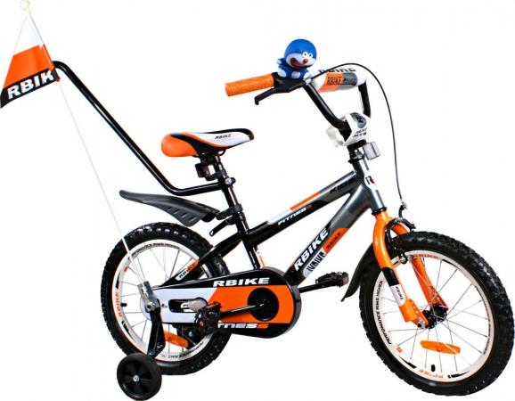 """Dětské kolo 16"""" BMX RBike 3-16 orange Dětské jízdní kolo ARTI s vodící tyčí"""