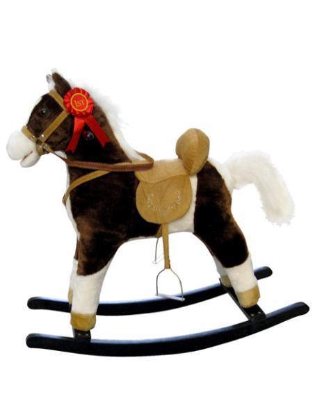 Houpací kůň Milly Mally Mustang tmavě hnědý Plyšový houpací koník se zvuky a pohyby