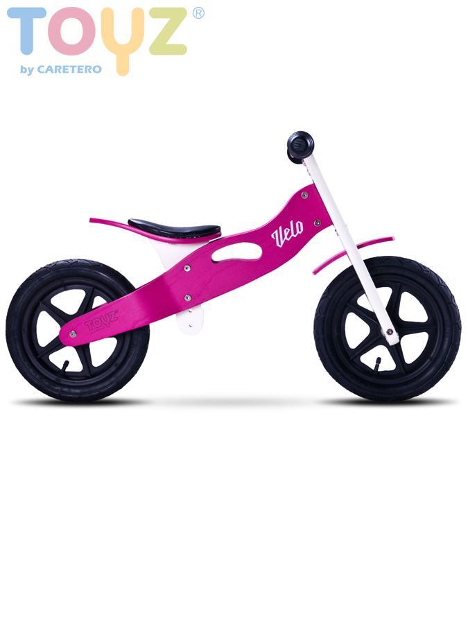 Odrážecí kolo dřevěné VELO purple Dětské odrážedlo kolo Toyz
