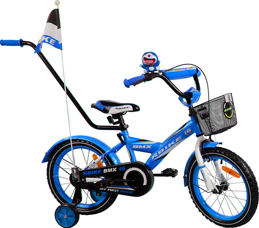 """Dětské kolo 16"""" BMX RBike 1-16 blue Dětské jízdní kolo ARTI s vodící tyčí"""
