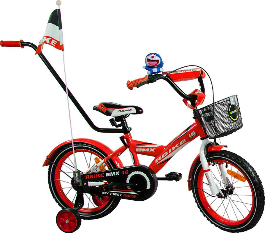 """Dětské kolo 16"""" BMX RBike 1-16 red Dětské jízdní kolo ARTI s vodící tyčí"""