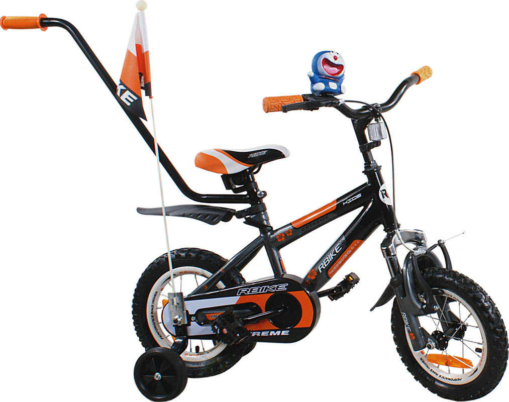 """Dětské kolo 12"""" BMX RBike 4 black-orange Dětské jízdní kolo ARTI s vodící tyčí"""