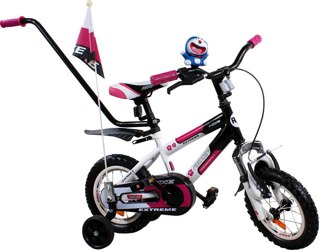 """Dětské kolo 12"""" BMX RBike 4-12 white-purple Dětské jízdní kolo ARTI s vodící tyčí"""