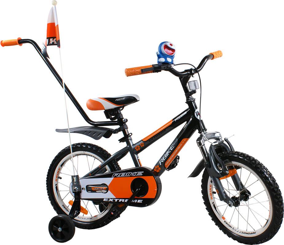 """Dětské kolo 16"""" BMX RBike 4 black-orange Dětské jízdní kolo ARTI s vodící tyčí"""