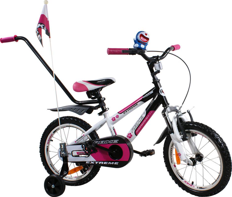 """Dětské kolo 16"""" BMX RBike 4 white-purple Dětské jízdní kolo ARTI s vodící tyčí"""