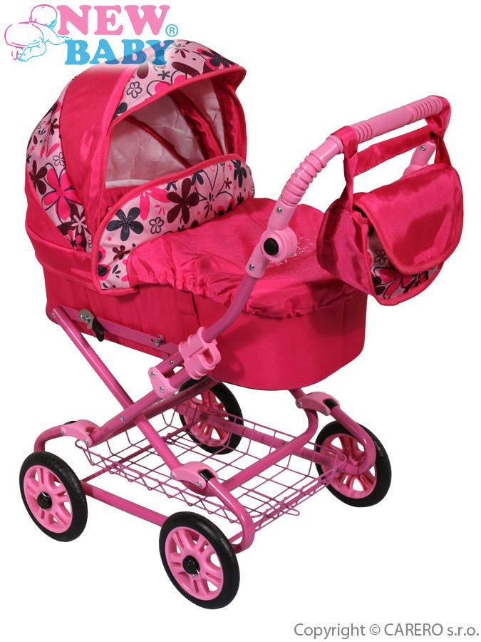 Hluboký kočárek pro panenky New Baby růžový