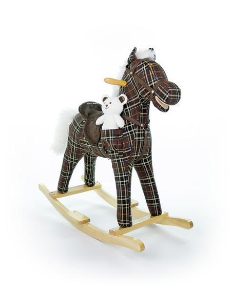 Houpací kůň Milly Mally Mustang kostkovaný hnědý Látkový houpací koník se zvuky a pohyby