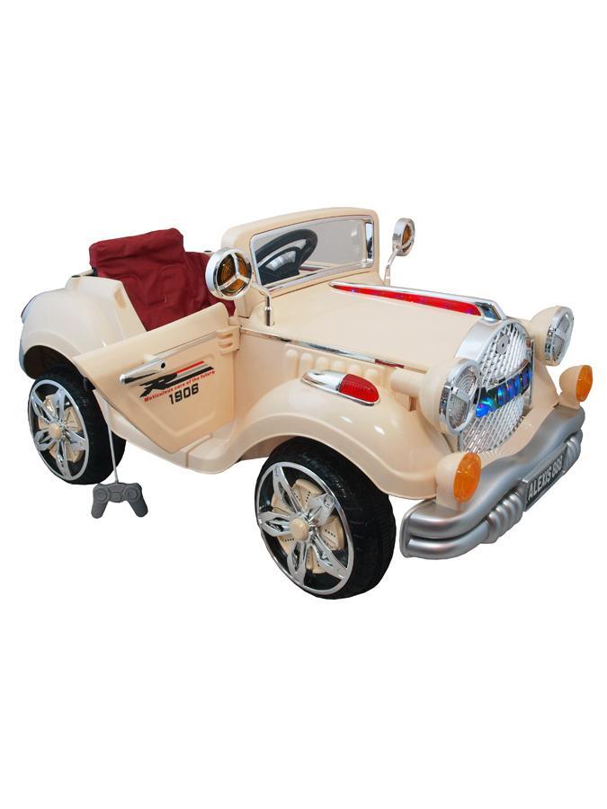 Elektrické retro auto Baby Mix KING beige Elektrické auto pro 1 dítě s dálkovým ovládáním