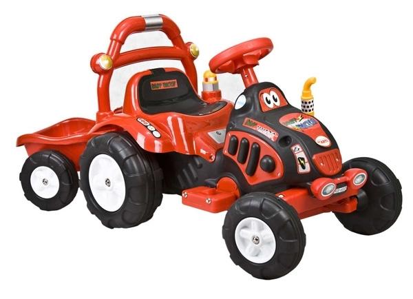 Elektrický traktor dětský ARTI O-KB red Dětský elektrický traktůrek s přívěsem na aku baterii