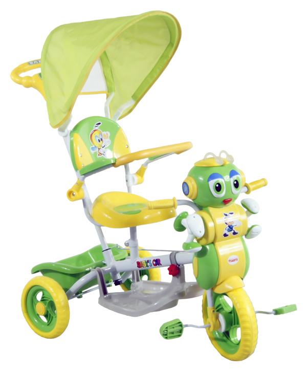 Tříkolka ARTI s vodící tyčí MRAVENEC 3 zelená Dětská tříkolka s vodící tyčí a stříškou