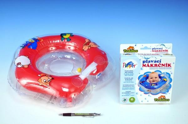Plavací nákrčník Flipper červený Plavací kruh pro nejmenší