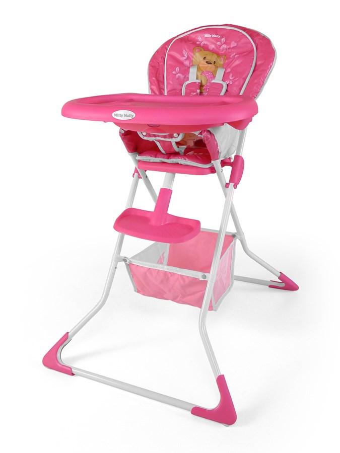 Jídelní židlička Milly Mally MINI bear pink Skládací jídelní židlička Milly Mally