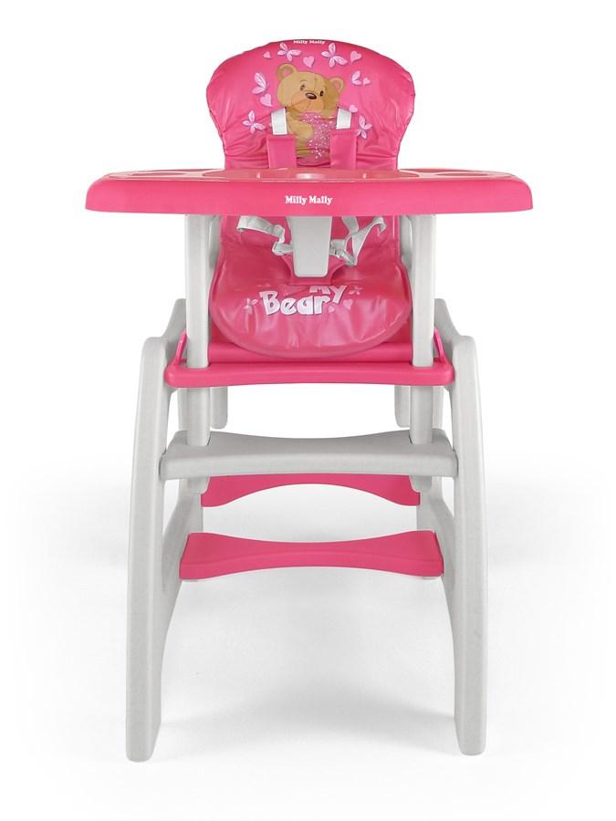 Jídelní židlička Milly Mally Max bear pink Dětská jídelní židlička rozkládací