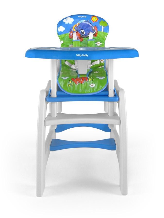 Jídelní židlička Milly Mally Max car blue Dětská jídelní židlička rozkládací