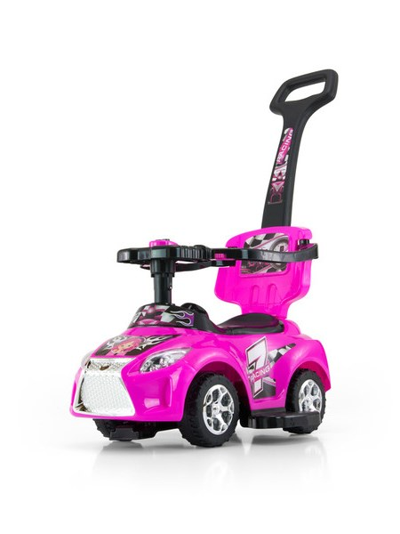 Odrážedlo 2v1 Milly Mally Kid pink Odrážedlo a jezdítko s vodící tyčí