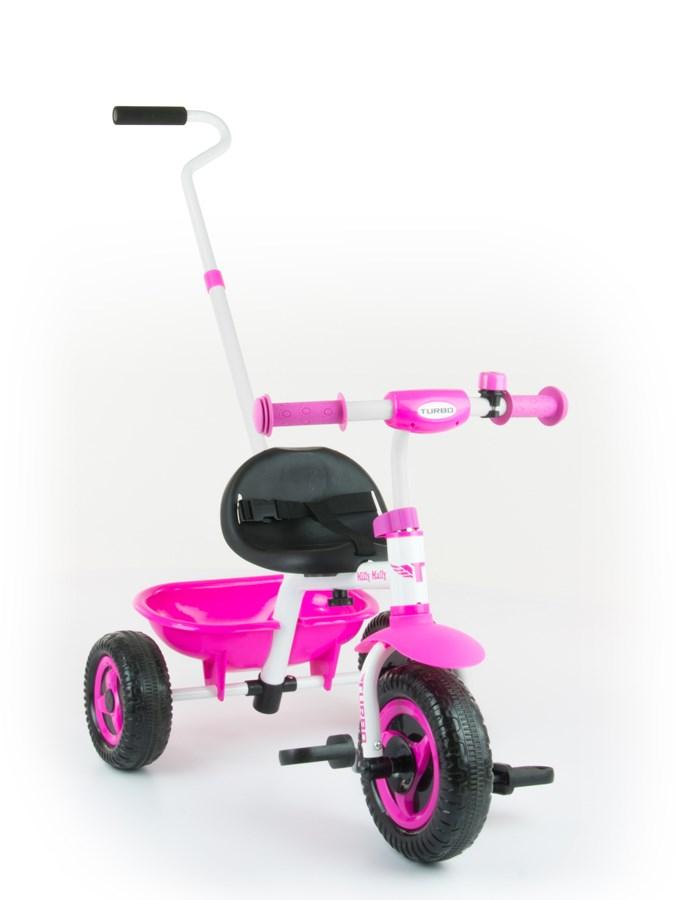 Tříkolka Milly Mally Boby Turbo pink Dětská tříkolka s vodící tyčí Milly Mally