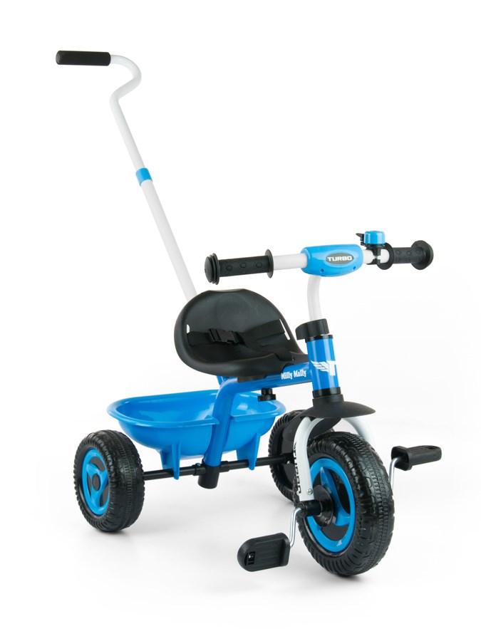 Tříkolka Milly Mally Boby Turbo blue Dětská tříkolka s vodící tyčí Milly Mally