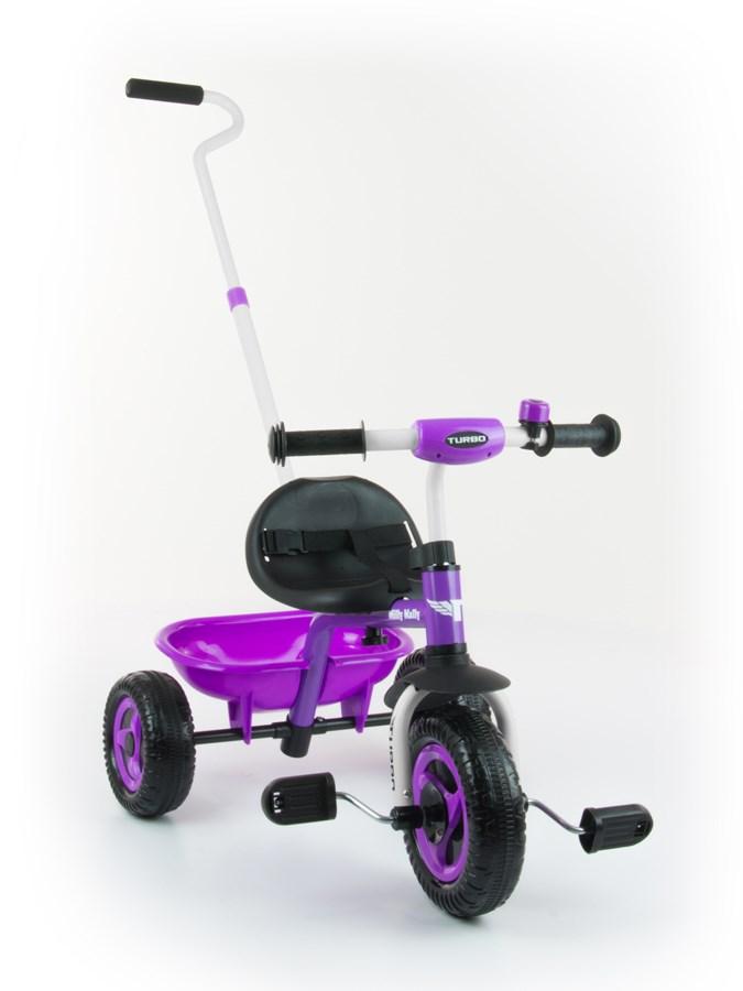 Tříkolka Milly Mally Boby Turbo purple Dětská tříkolka s vodící tyčí Milly Mally