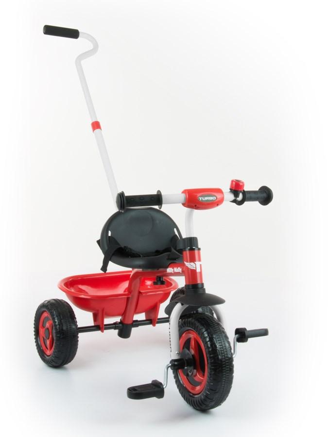 Tříkolka Milly Mally Boby Turbo red Dětská tříkolka s vodící tyčí Milly Mally