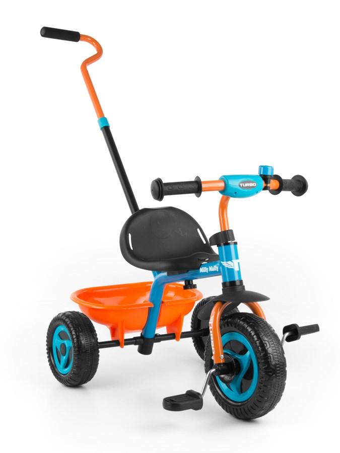 Tříkolka Milly Mally Boby Turbo orange Dětská tříkolka s vodící tyčí Milly Mally