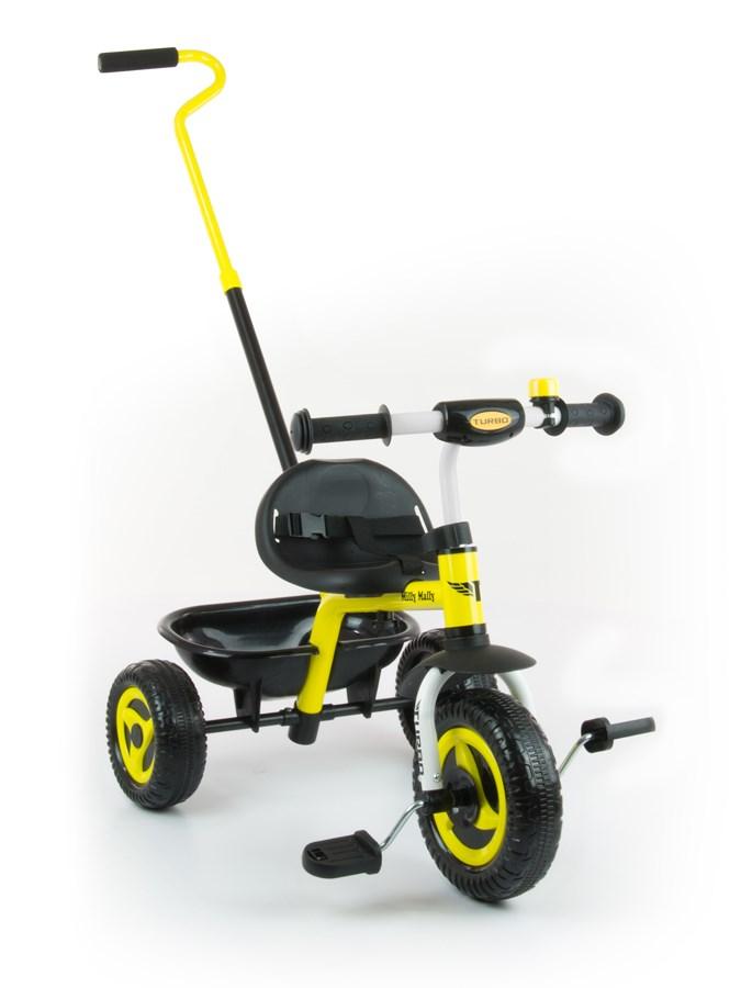 Tříkolka Milly Mally Boby Turbo yellow Dětská tříkolka s vodící tyčí Milly Mally