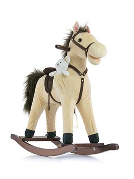 Houpací kůň Milly Mally Mustang béžový Látkový houpací koník se zvuky a pohyby
