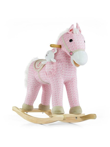 Houpací kůň Milly Mally Pony růžový Látkový houpací koník se zvuky a pohyby