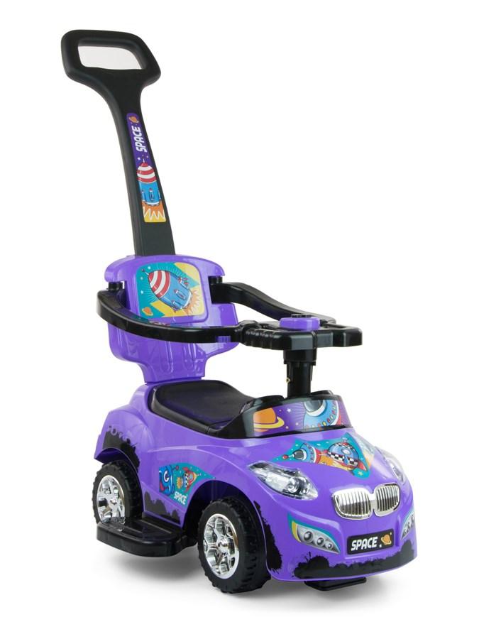 Odrážedlo 2v1 Milly Mally Happy violet Odrážedlo a jezdítko s vodící tyčí