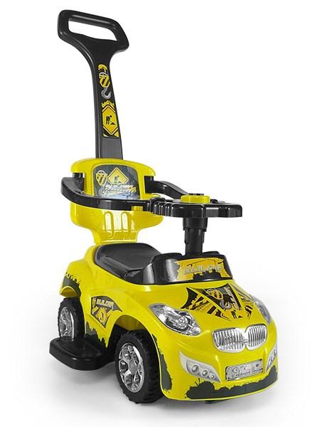 Odrážedlo 2v1 Milly Mally Happy yellow Odrážedlo a jezdítko s vodící tyčí