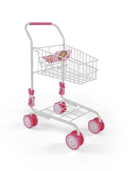Dětský nákupní košík Milly Mally růžovo-hnědý Dětský kovový nákupní vozík Žofie