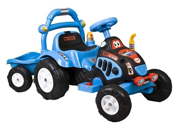 Elektrický traktor dětský ARTI O-KB blue Dětský elektrický traktůrek s přívěsem na aku baterii