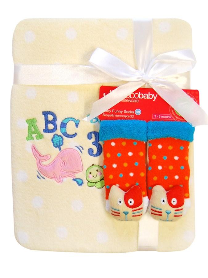 Dětská deka mikrovlákno Bobo Baby s ponožkami Teplá dětská deka Bobo Baby béžová