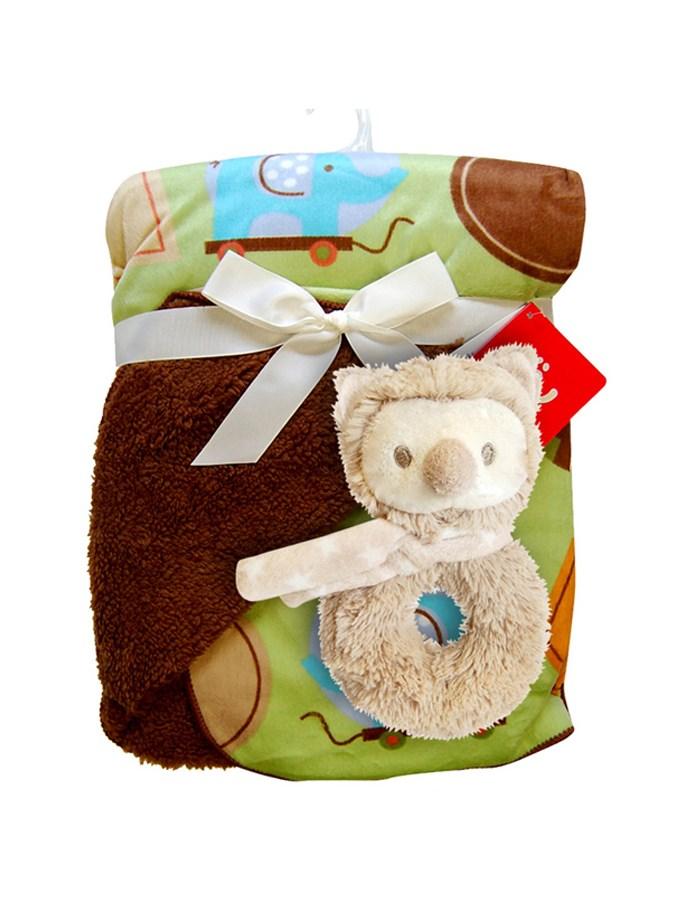 Dětská deka oboustranná Bobo Baby s chrastítkem Teplá dětská deka Bobo Baby hnědá